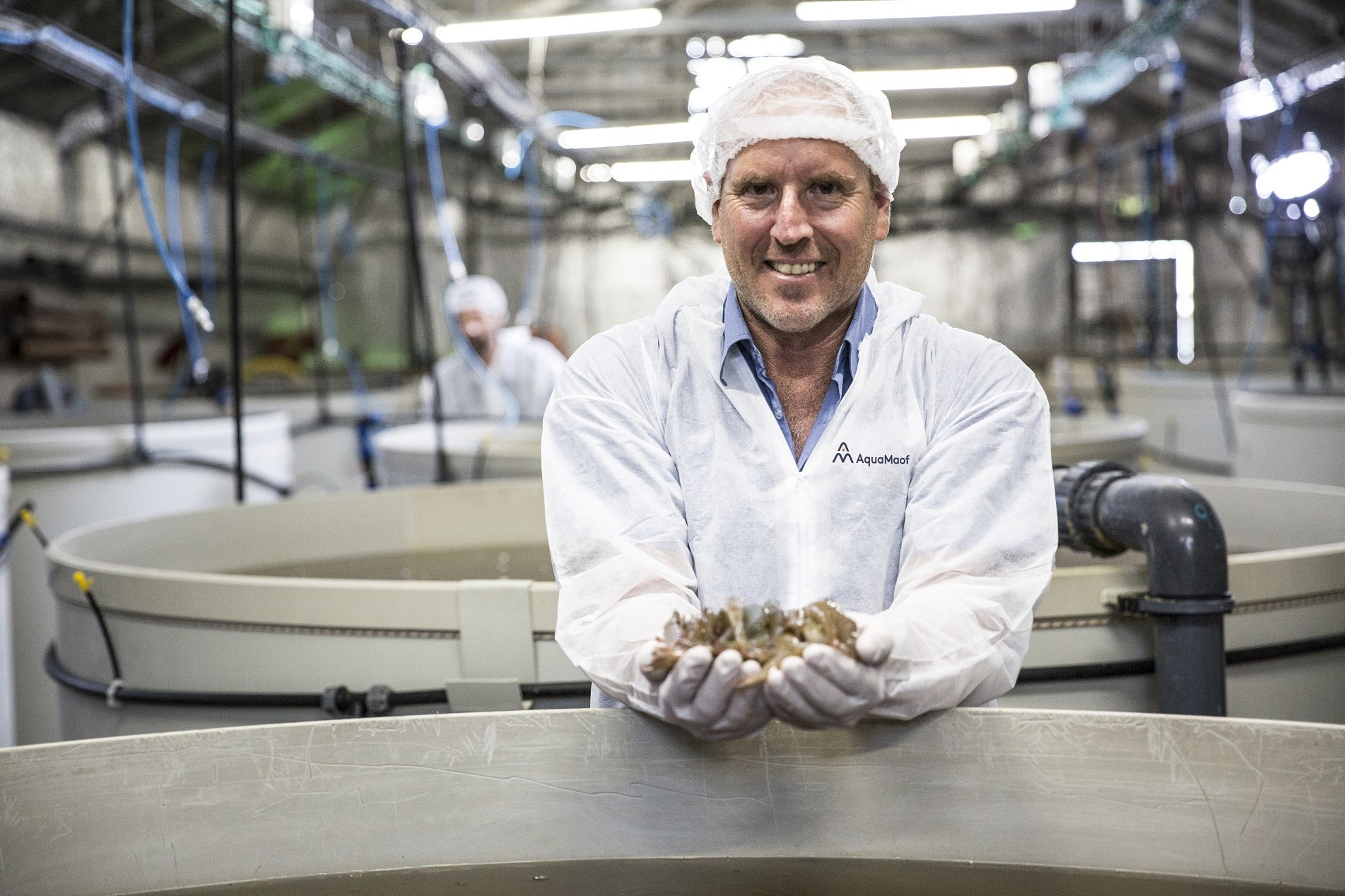 A man holding shrimps
